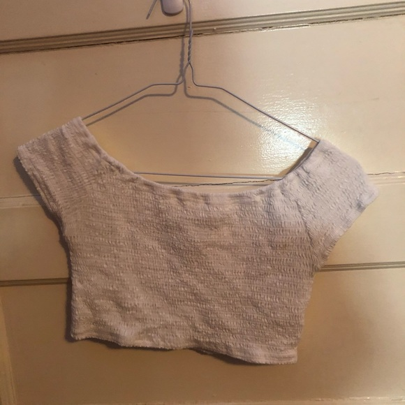 White cropped off the shoulder top